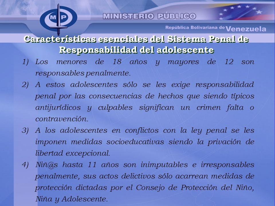 Características esenciales del Sistema Penal de Responsabilidad del adolescente Características esenciales del Sistema Penal de Responsabilidad del ad