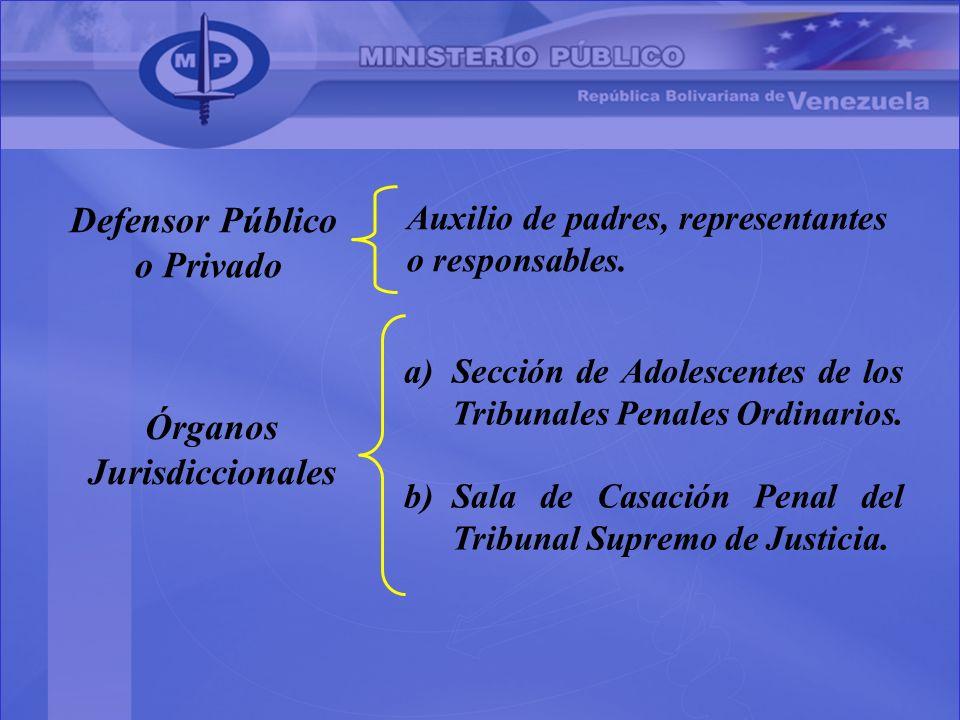 Defensor Público o Privado Auxilio de padres, representantes o responsables. Órganos Jurisdiccionales a)Sección de Adolescentes de los Tribunales Pena