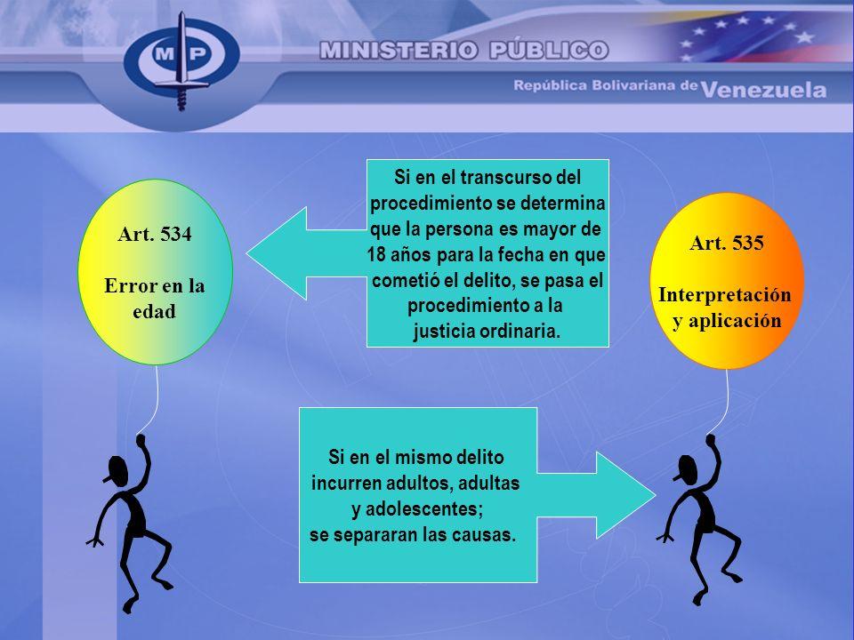 Art. 534 Error en la edad Art. 535 Interpretación y aplicación Si en el transcurso del procedimiento se determina que la persona es mayor de 18 años p