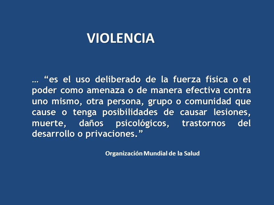… es el uso deliberado de la fuerza física o el poder como amenaza o de manera efectiva contra uno mismo, otra persona, grupo o comunidad que cause o