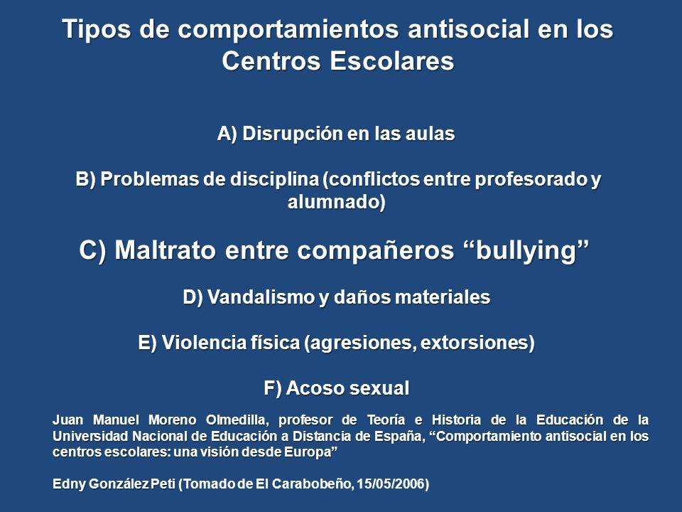 Tipos de comportamientos antisocial en los Centros Escolares A) Disrupción en las aulas B) Problemas de disciplina (conflictos entre profesorado y alu