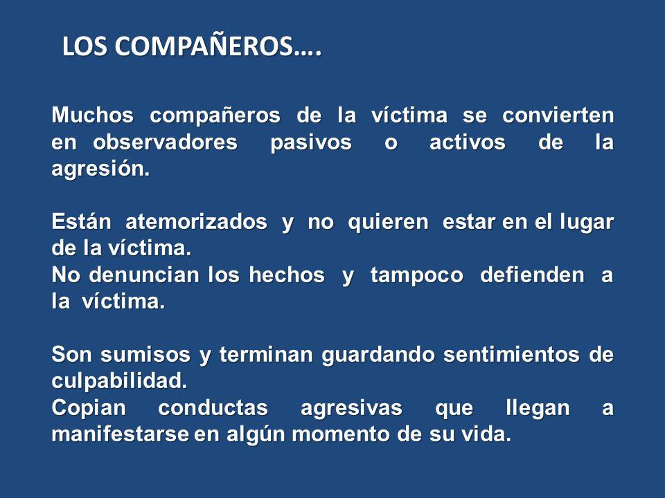 Muchos compañeros de la víctima se convierten en observadores pasivos o activos de la agresión. Están atemorizados y no quieren estar en el lugar de l