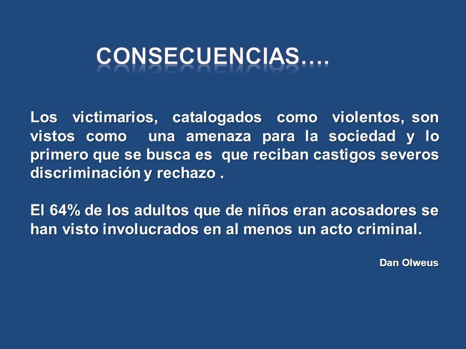 Los victimarios, catalogados como violentos, son vistos como una amenaza para la sociedad y lo primero que se busca es que reciban castigos severos di