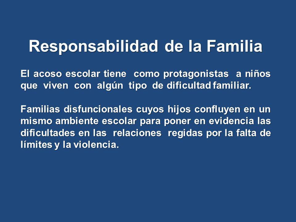 Responsabilidad de la Familia El acoso escolar tiene como protagonistas a niños que viven con algún tipo de dificultad familiar. Familias disfuncional