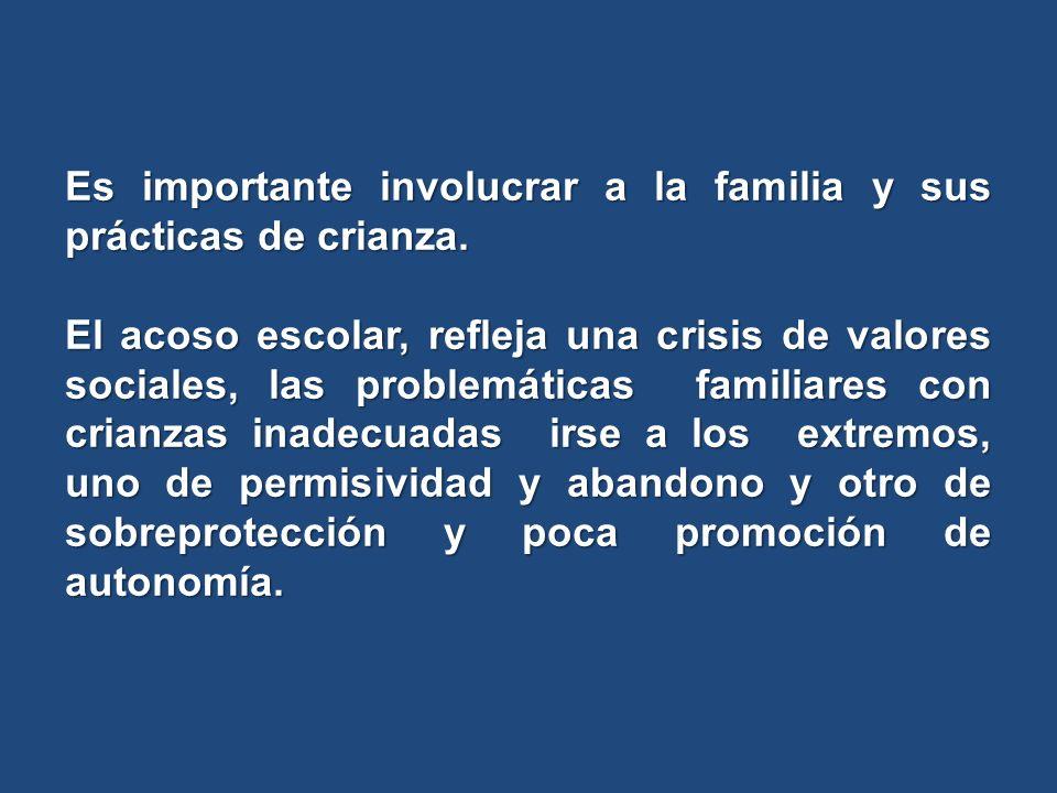 Es importante involucrar a la familia y sus prácticas de crianza. El acoso escolar, refleja una crisis de valores sociales, las problemáticas familiar