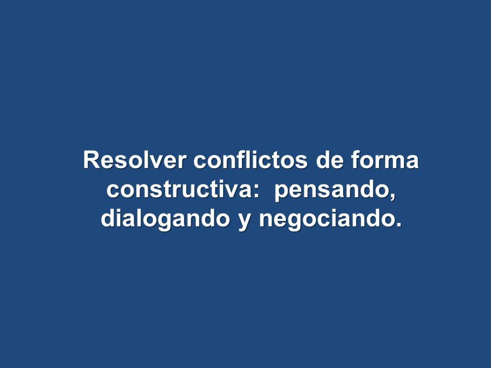 Resolver conflictos de forma constructiva: pensando, dialogando y negociando.