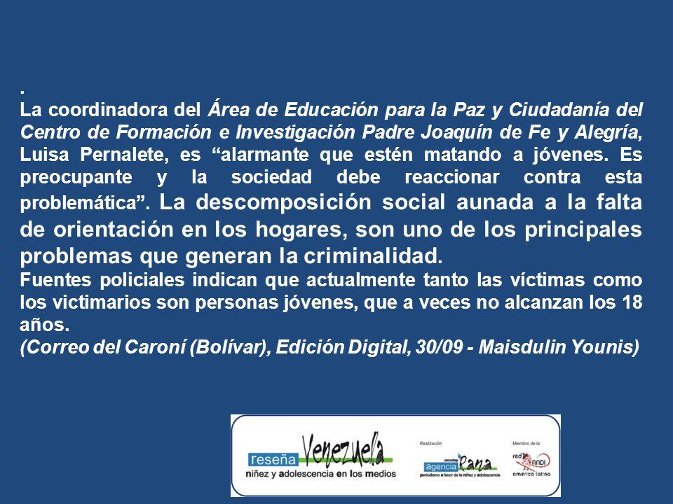 La coordinadora del Área de Educación para la Paz y Ciudadanía del Centro de Formación e Investigación Padre Joaquín de Fe y Alegría, Luisa Pernalete, es alarmante que estén matando a jóvenes.