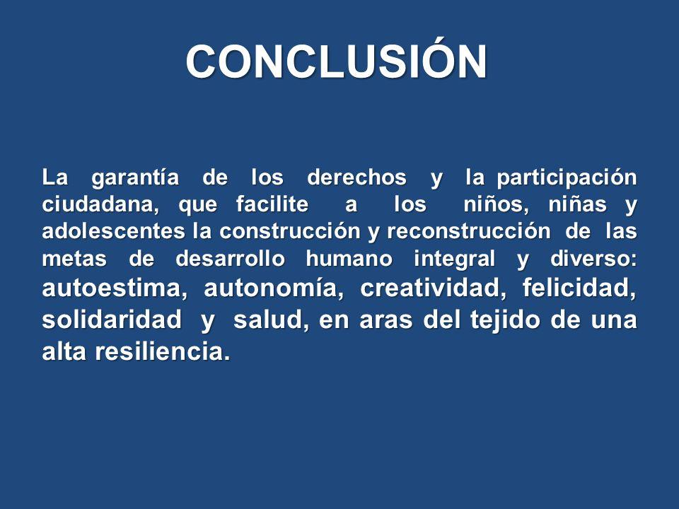 La garantía de los derechos y la participación ciudadana, que facilite a los niños, niñas y adolescentes la construcción y reconstrucción de las metas