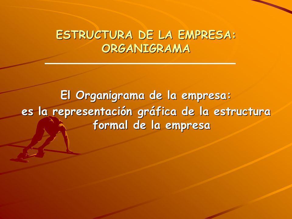 ESTRUCTURA DE LA EMPRESA: ORGANIGRAMA El Organigrama de la empresa: es la representación gráfica de la estructura formal de la empresa