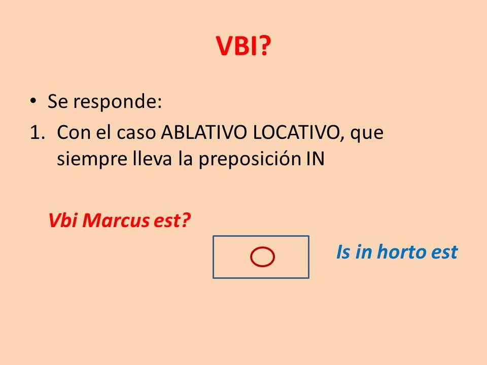 Se responde: 1.Con el caso ABLATIVO LOCATIVO, que siempre lleva la preposición IN Vbi Marcus est? Is in horto est