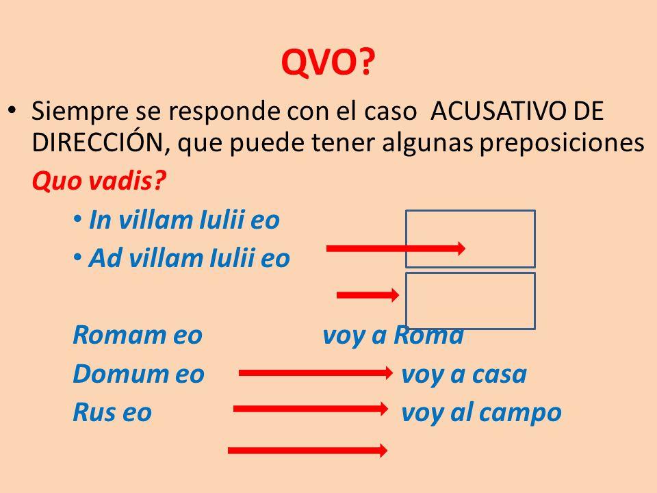 Siempre se responde con el caso ACUSATIVO DE DIRECCIÓN, que puede tener algunas preposiciones Quo vadis? In villam Iulii eo Ad villam Iulii eo Romam e