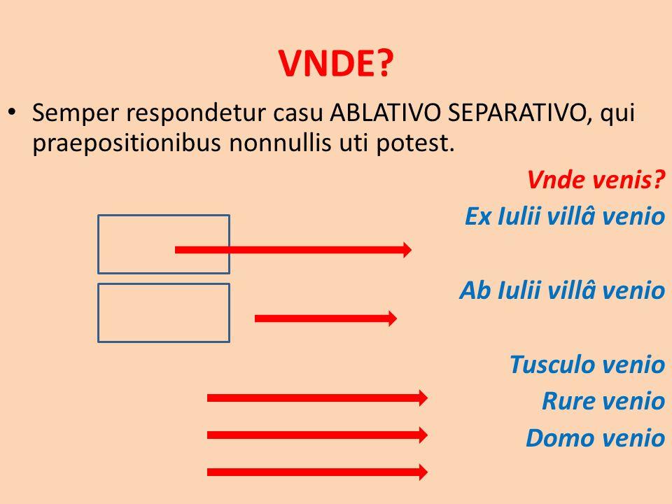 VNDE. Semper respondetur casu ABLATIVO SEPARATIVO, qui praepositionibus nonnullis uti potest.