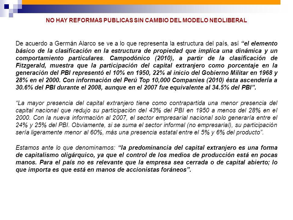 NO HAY REFORMAS PUBLICAS SIN CAMBIO DEL MODELO NEOLIBERAL De acuerdo a Germán Alarco se ve a lo que representa la estructura del país, así el elemento