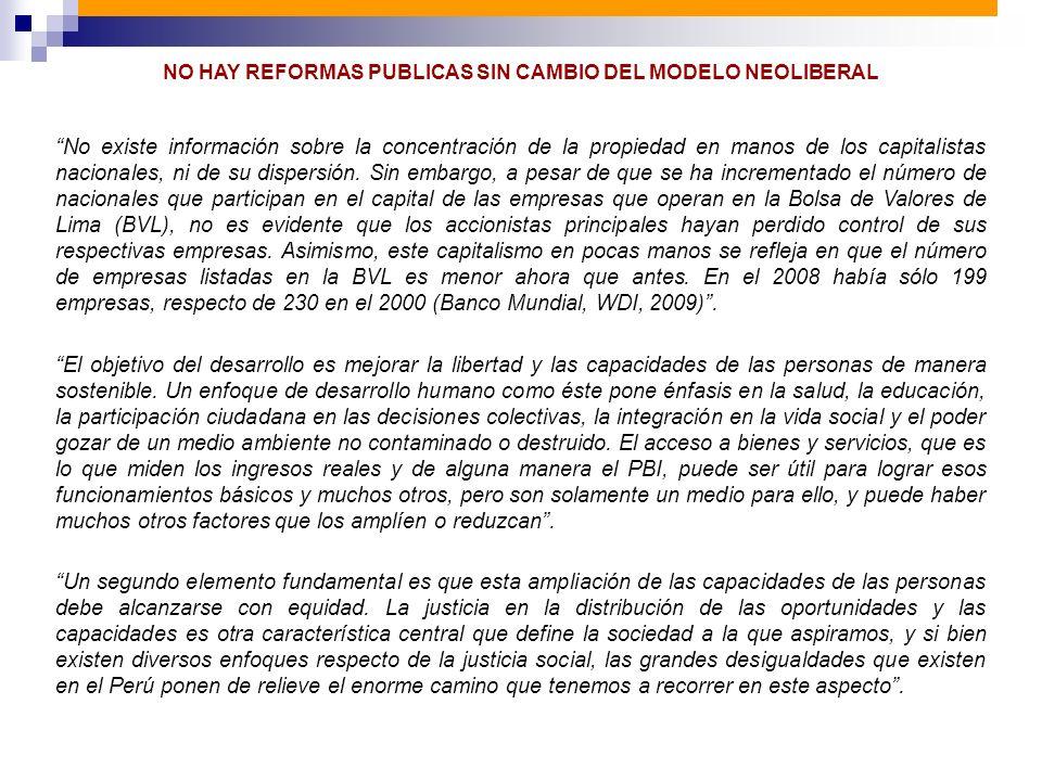 NO HAY REFORMAS PUBLICAS SIN CAMBIO DEL MODELO NEOLIBERAL No existe información sobre la concentración de la propiedad en manos de los capitalistas na