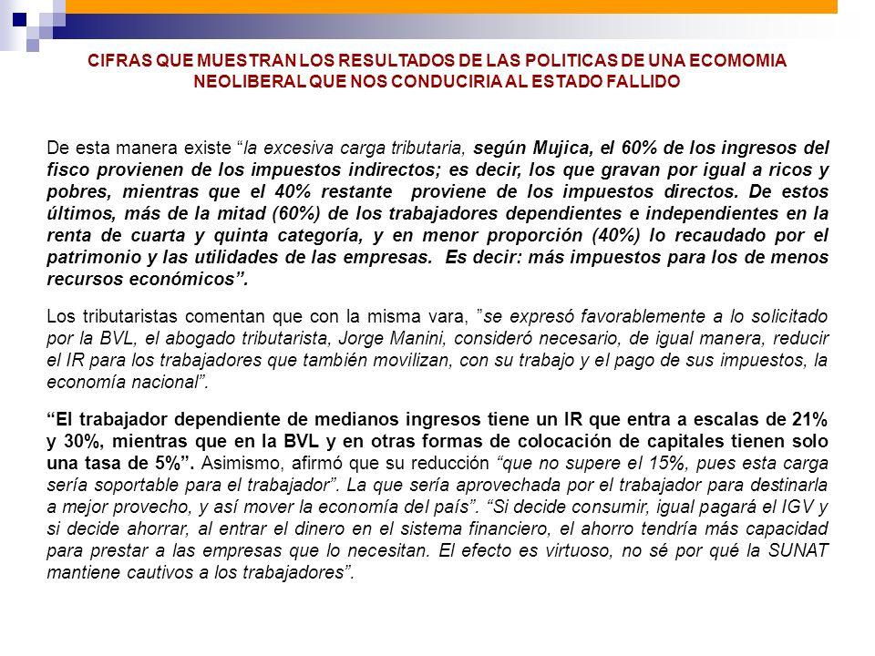 De esta manera existe la excesiva carga tributaria, según Mujica, el 60% de los ingresos del fisco provienen de los impuestos indirectos; es decir, lo
