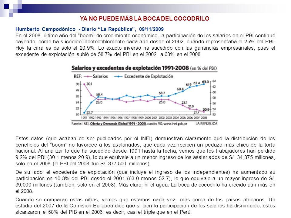 Humberto Campodónico - Diario La República, 09/11/2009 En el 2008, último año del boom de crecimiento económico, la participación de los salarios en e