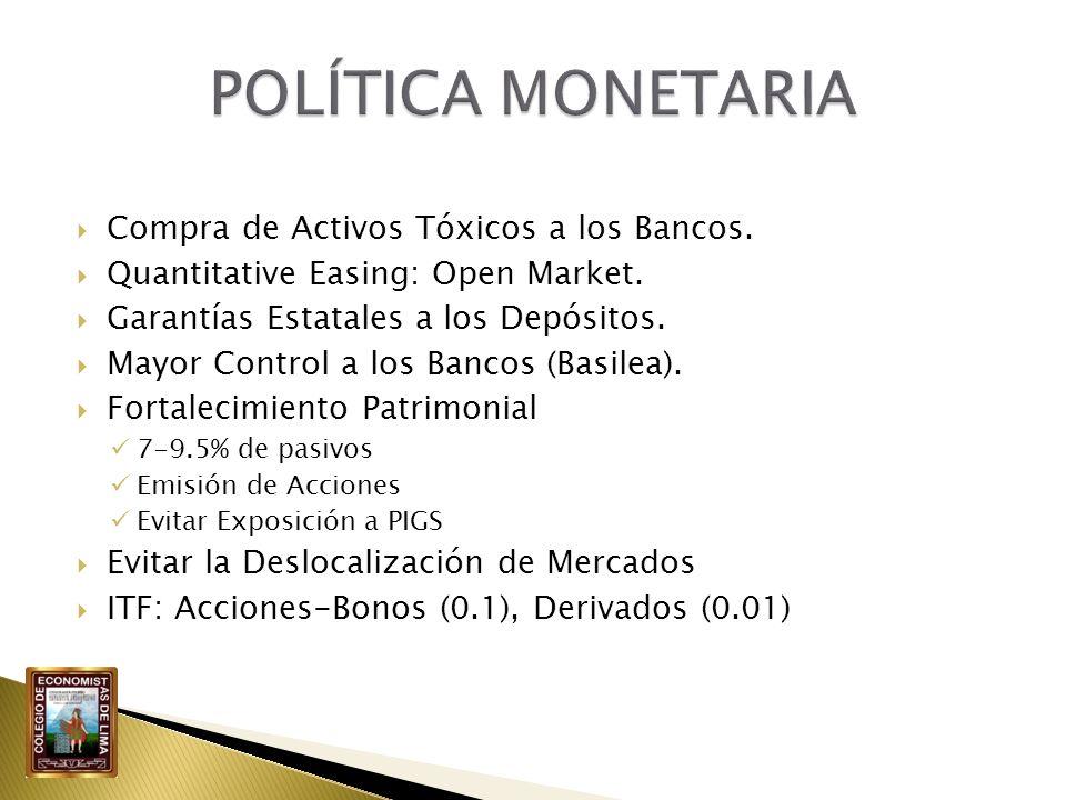 Compra de Activos Tóxicos a los Bancos. Quantitative Easing: Open Market. Garantías Estatales a los Depósitos. Mayor Control a los Bancos (Basilea). F