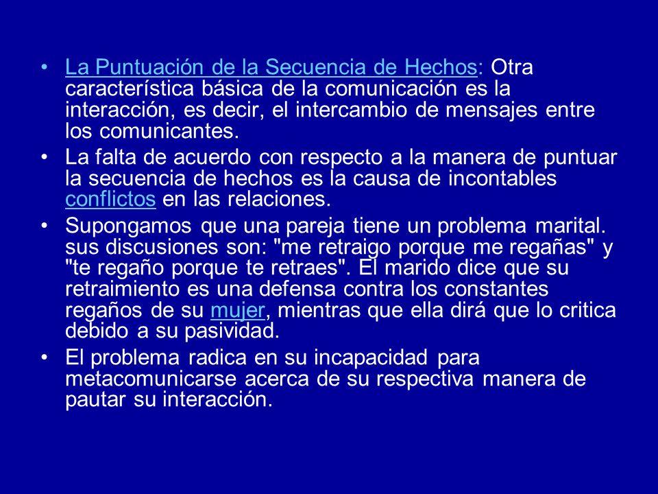 La Puntuación de la Secuencia de Hechos: Otra característica básica de la comunicación es la interacción, es decir, el intercambio de mensajes entre l