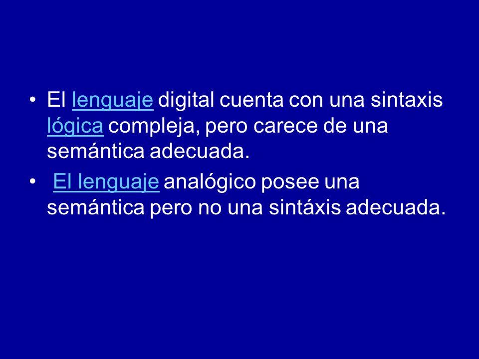 El lenguaje digital cuenta con una sintaxis lógica compleja, pero carece de una semántica adecuada.lenguaje lógica El lenguaje analógico posee una sem