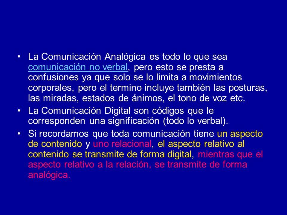 La Comunicación Analógica es todo lo que sea comunicación no verbal, pero esto se presta a confusiones ya que solo se lo limita a movimientos corporal
