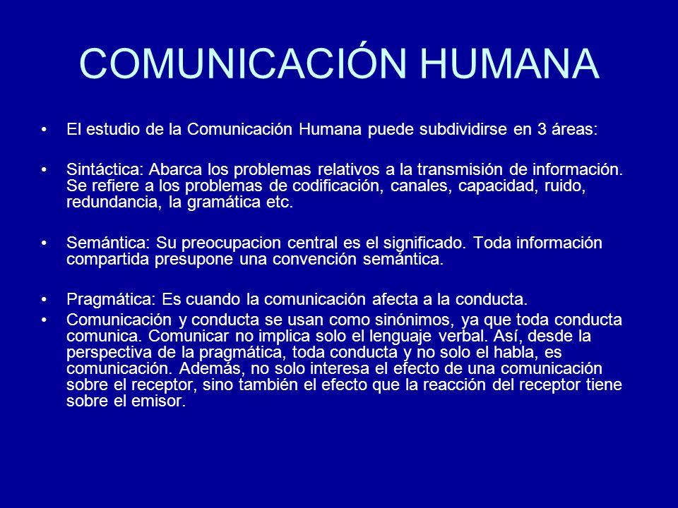 COMUNICACIÓN HUMANA El estudio de la Comunicación Humana puede subdividirse en 3 áreas: Sintáctica: Abarca los problemas relativos a la transmisión de