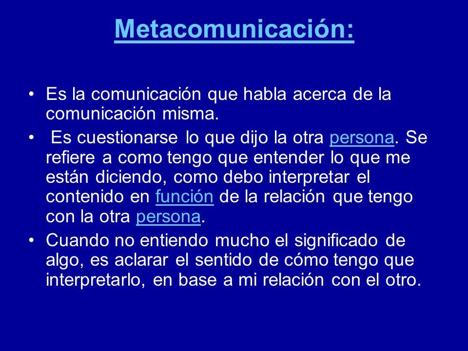 Metacomunicación: Es la comunicación que habla acerca de la comunicación misma. Es cuestionarse lo que dijo la otra persona. Se refiere a como tengo q
