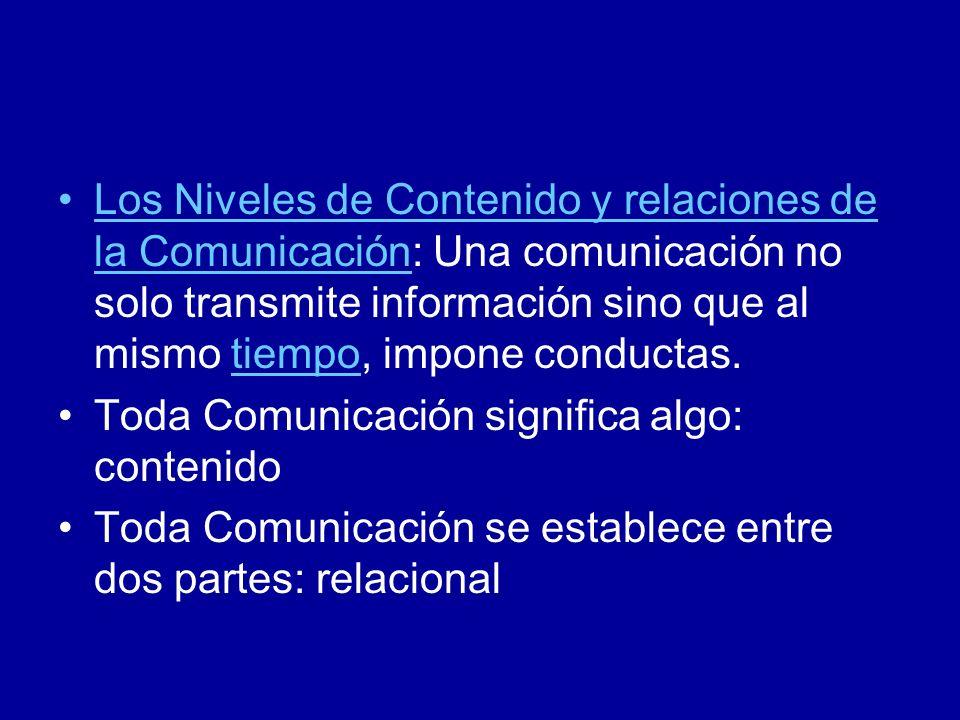 Los Niveles de Contenido y relaciones de la Comunicación: Una comunicación no solo transmite información sino que al mismo tiempo, impone conductas.ti