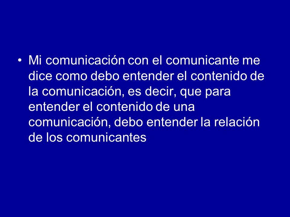 Mi comunicación con el comunicante me dice como debo entender el contenido de la comunicación, es decir, que para entender el contenido de una comunic
