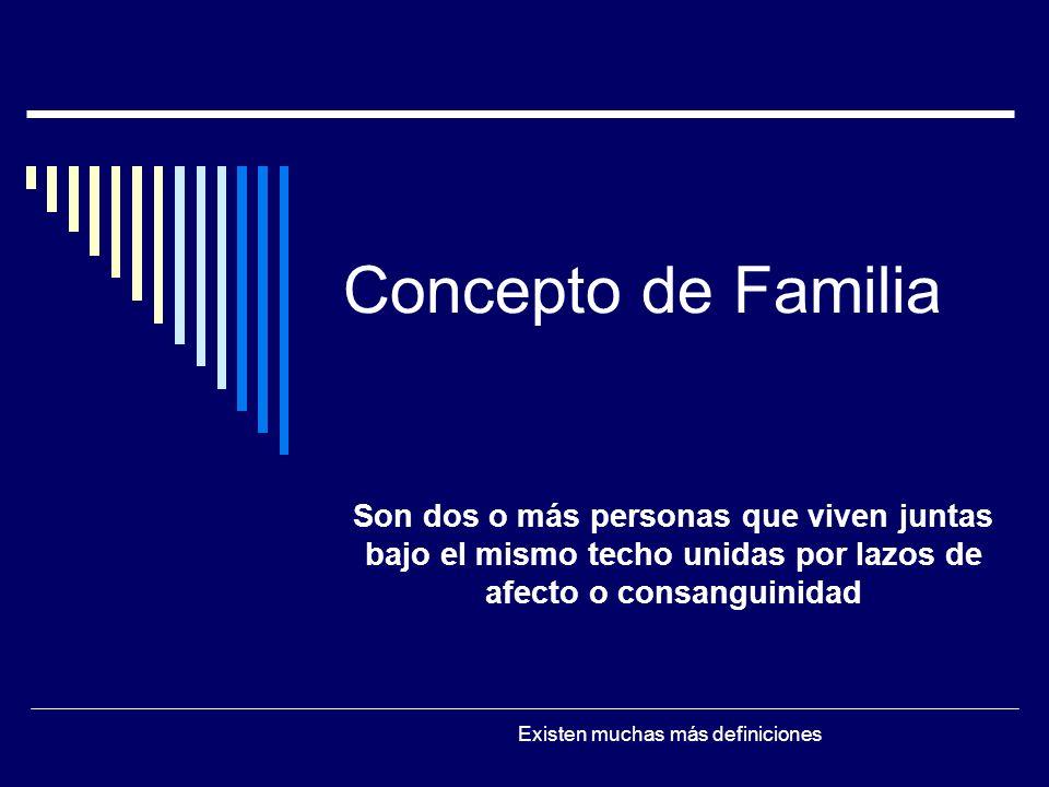 Concepto de Familia Son dos o más personas que viven juntas bajo el mismo techo unidas por lazos de afecto o consanguinidad Existen muchas más definiciones