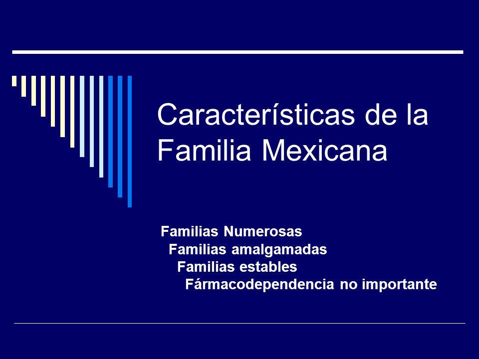 Características de la Familia Mexicana Familias Numerosas Familias amalgamadas Familias estables Fármacodependencia no importante