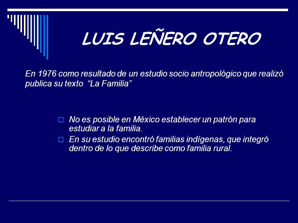 En 1976 como resultado de un estudio socio antropológico que realizó publica su texto La Familia No es posible en México establecer un patrón para estudiar a la familia.