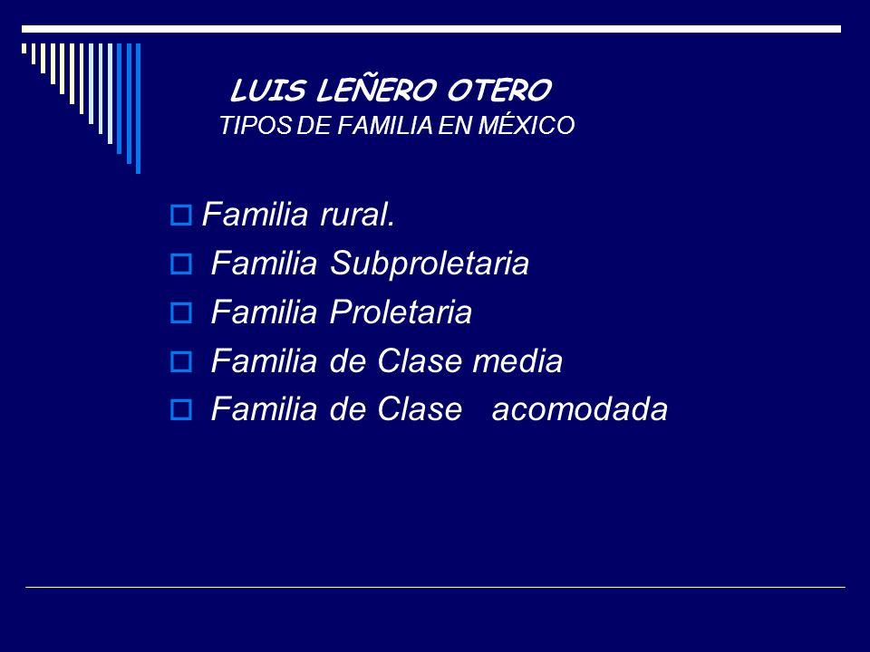 LUIS LEÑERO OTERO TIPOS DE FAMILIA EN MÉXICO Familia rural.