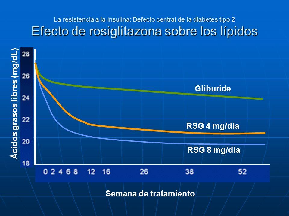 La resistencia a la insulina: Defecto central de la diabetes tipo 2 Efecto de rosiglitazona sobre los lípidos Ácidos grasos libres (mg/dL) Semana de t
