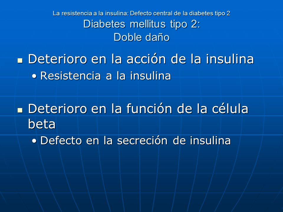 La resistencia a la insulina: Defecto central de la diabetes tipo 2 Diabetes mellitus tipo 2: Doble daño Deterioro en la acción de la insulina Deterio