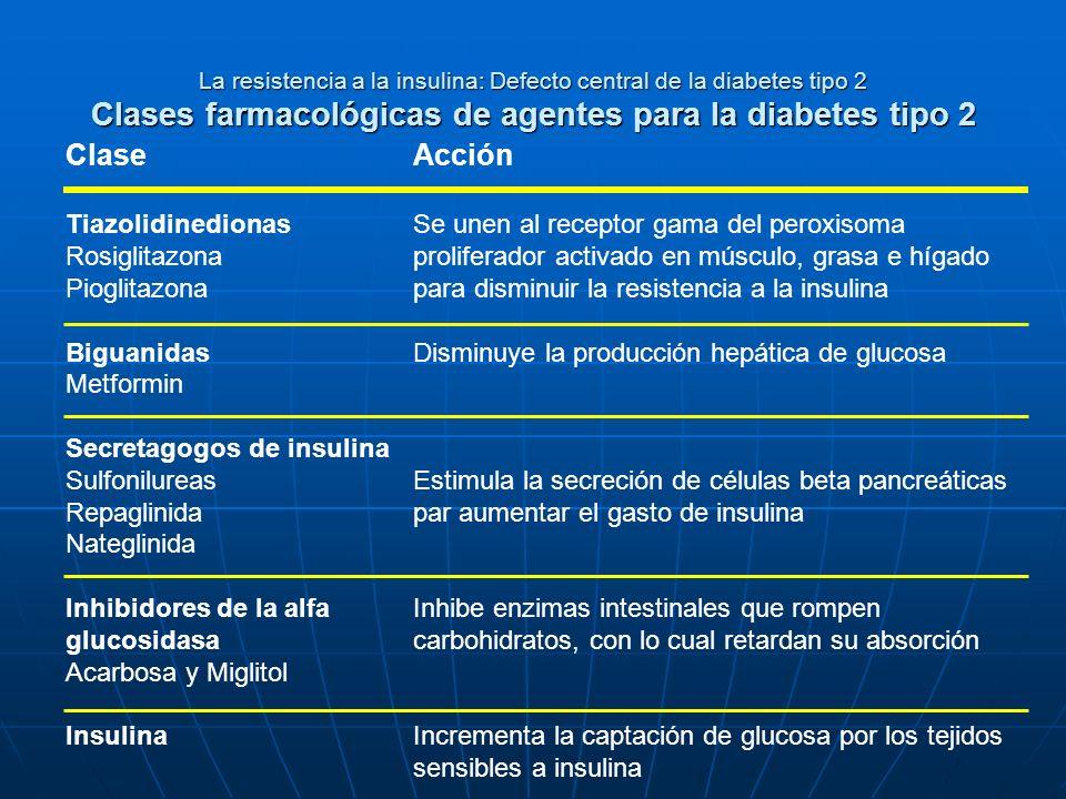 La resistencia a la insulina: Defecto central de la diabetes tipo 2 Clases farmacológicas de agentes para la diabetes tipo 2 Clase Tiazolidinedionas R