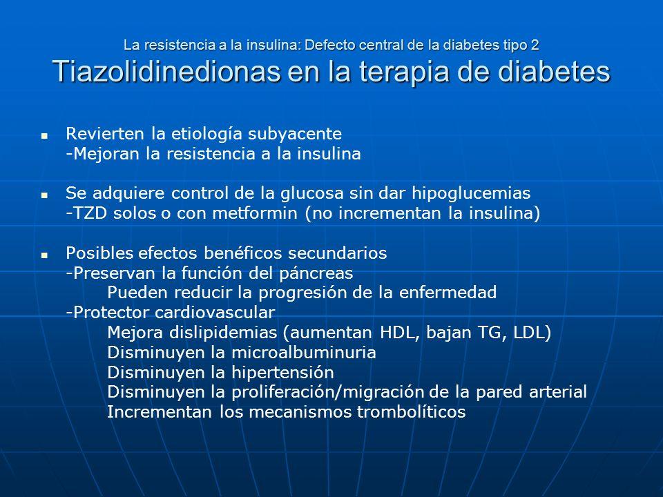La resistencia a la insulina: Defecto central de la diabetes tipo 2 Tiazolidinedionas en la terapia de diabetes Revierten la etiología subyacente -Mej