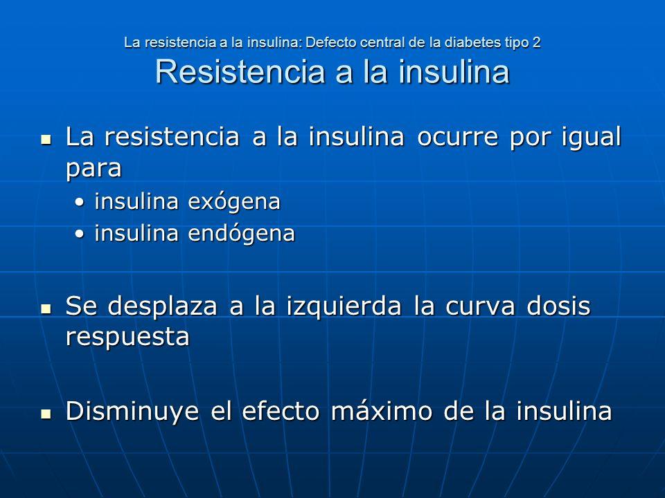 La resistencia a la insulina: Defecto central de la diabetes tipo 2 Resistencia a la insulina La resistencia a la insulina ocurre por igual para La re