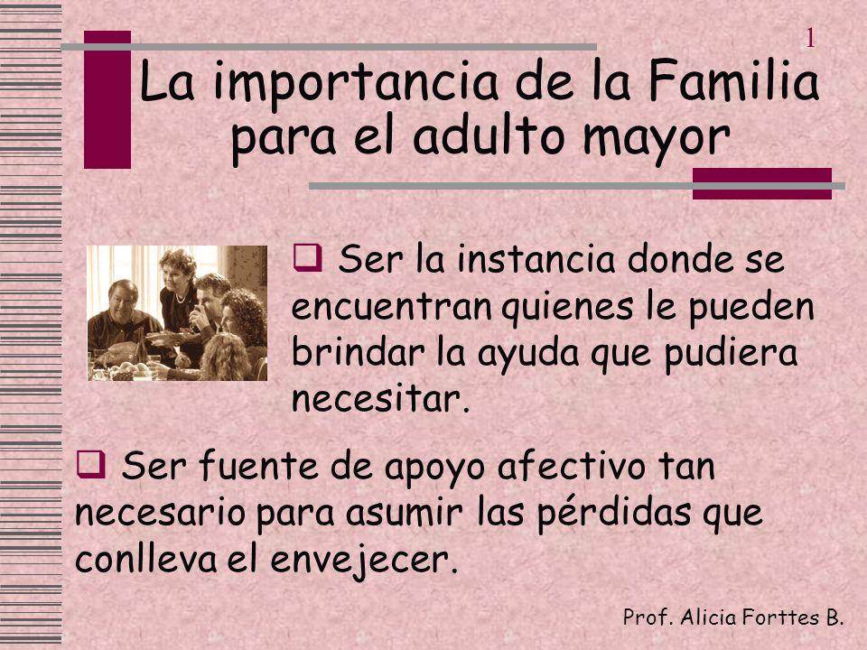 La importancia de la Familia para el adulto mayor Ser la instancia donde se encuentran quienes le pueden brindar la ayuda que pudiera necesitar. Prof.