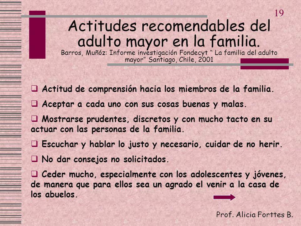 Actitud de comprensión hacia los miembros de la familia. Aceptar a cada uno con sus cosas buenas y malas. Mostrarse prudentes, discretos y con mucho t