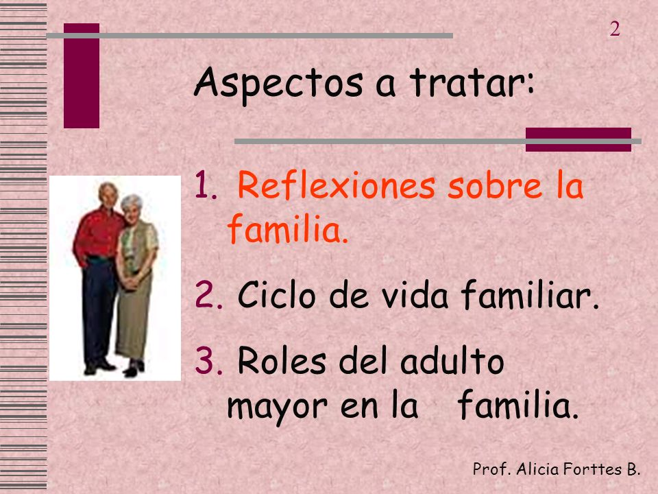 Aspectos a tratar: 1. Reflexiones sobre la familia. 2. Ciclo de vida familiar. 3. Roles del adulto mayor en la familia. Prof. Alicia Forttes B. 2