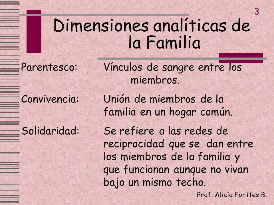 Dimensiones analíticas de la Familia Prof. Alicia Forttes B. 3 Parentesco:Vínculos de sangre entre los miembros. Convivencia:Unión de miembros de la f