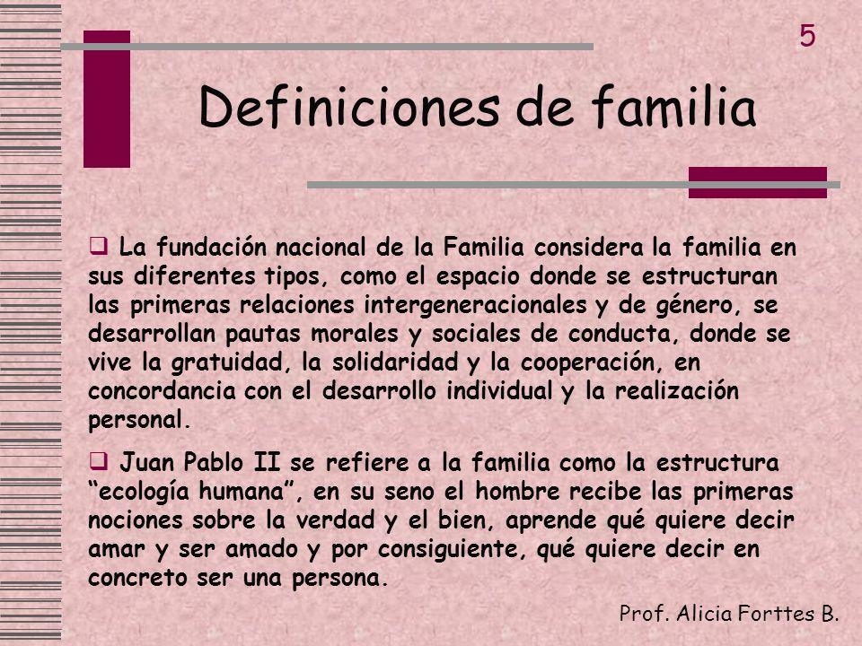 Definiciones de familia Prof. Alicia Forttes B. 5 La fundación nacional de la Familia considera la familia en sus diferentes tipos, como el espacio do