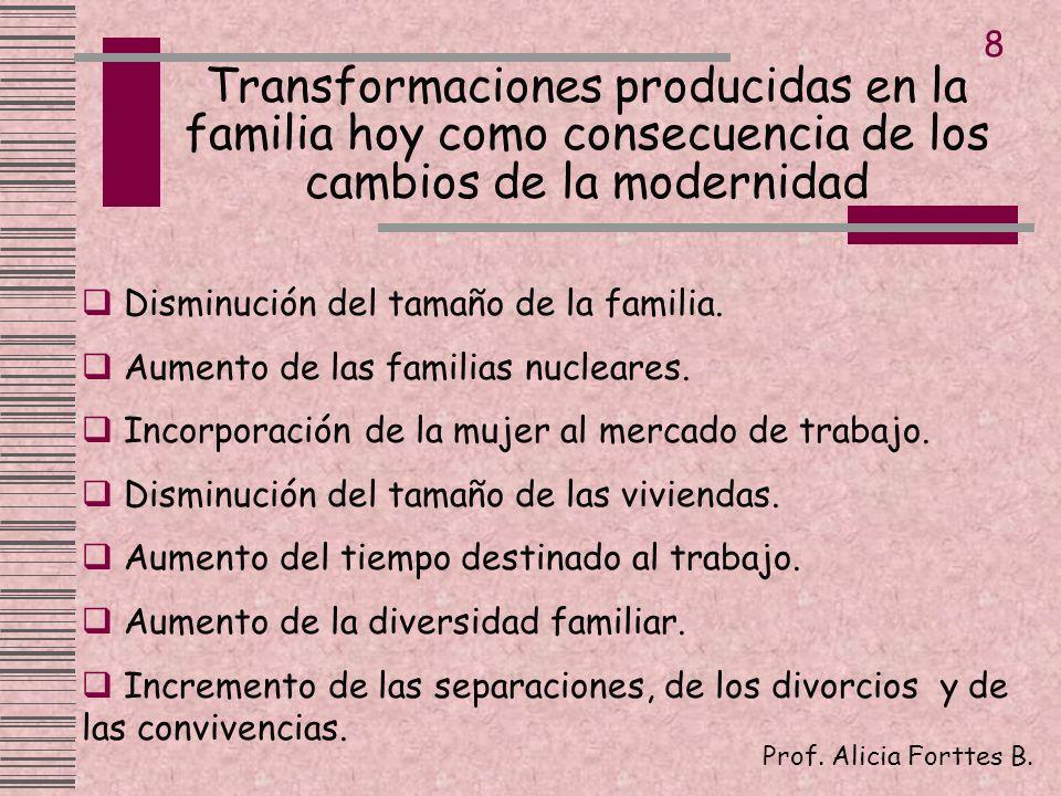 Transformaciones producidas en la familia hoy como consecuencia de los cambios de la modernidad Prof. Alicia Forttes B. 8 Disminución del tamaño de la