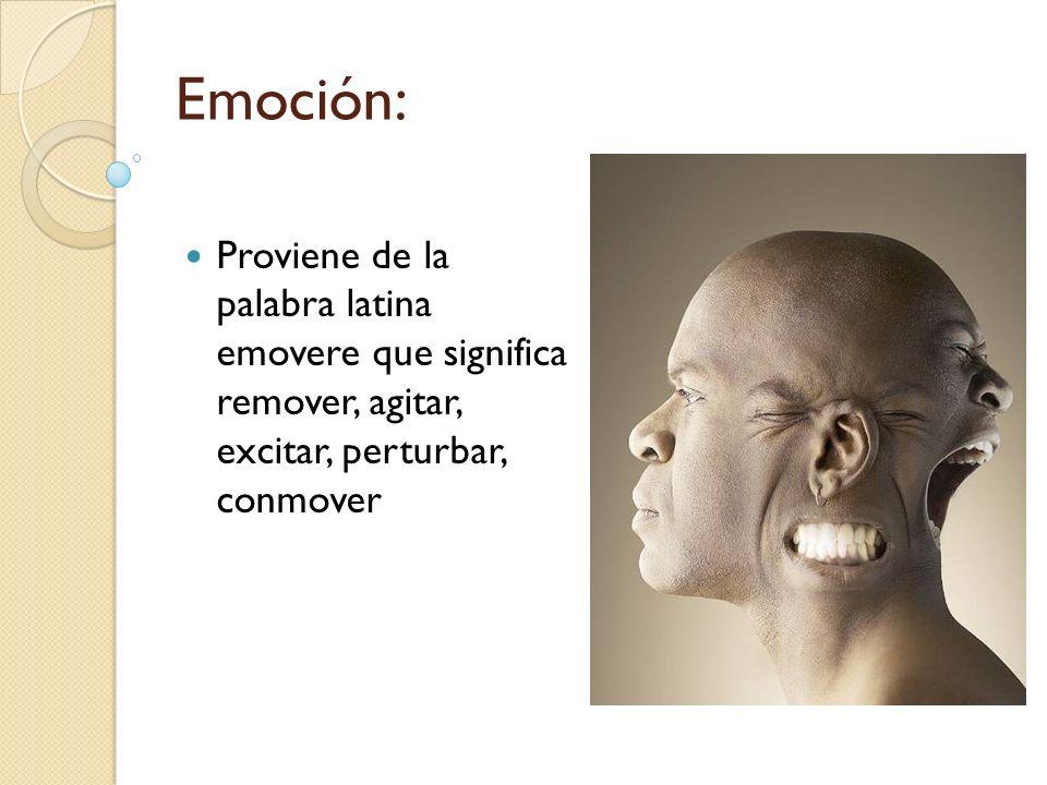 Emoción: Proviene de la palabra latina emovere que significa remover, agitar, excitar, perturbar, conmover