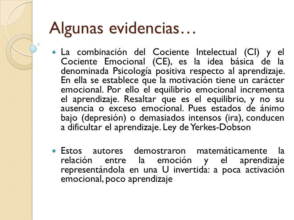 Algunas evidencias… La combinación del Cociente Intelectual (CI) y el Cociente Emocional (CE), es la idea básica de la denominada Psicología positiva