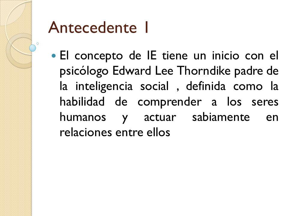 Antecedente 1 El concepto de IE tiene un inicio con el psicólogo Edward Lee Thorndike padre de la inteligencia social, definida como la habilidad de c