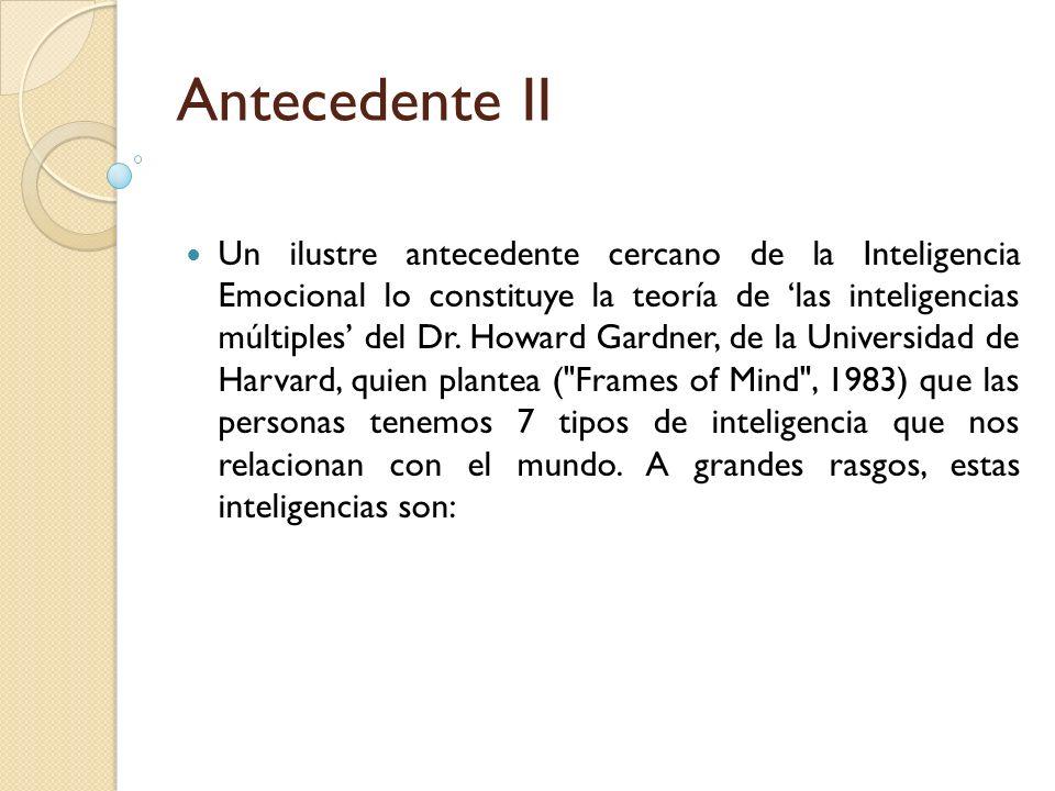 Antecedente II Un ilustre antecedente cercano de la Inteligencia Emocional lo constituye la teoría de las inteligencias múltiples del Dr. Howard Gardn