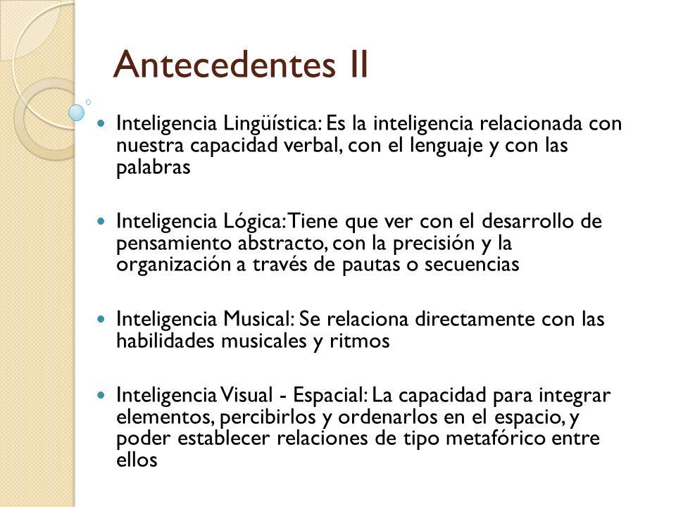 Antecedentes II Inteligencia Lingüística: Es la inteligencia relacionada con nuestra capacidad verbal, con el lenguaje y con las palabras Inteligencia