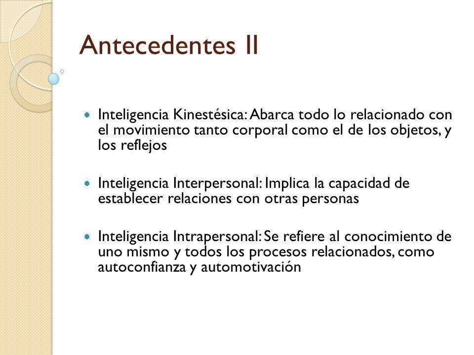 Antecedentes II Inteligencia Kinestésica: Abarca todo lo relacionado con el movimiento tanto corporal como el de los objetos, y los reflejos Inteligen