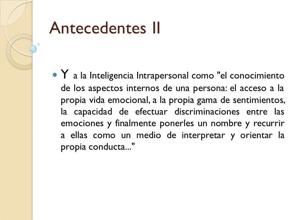 Antecedentes II Y a la Inteligencia Intrapersonal como